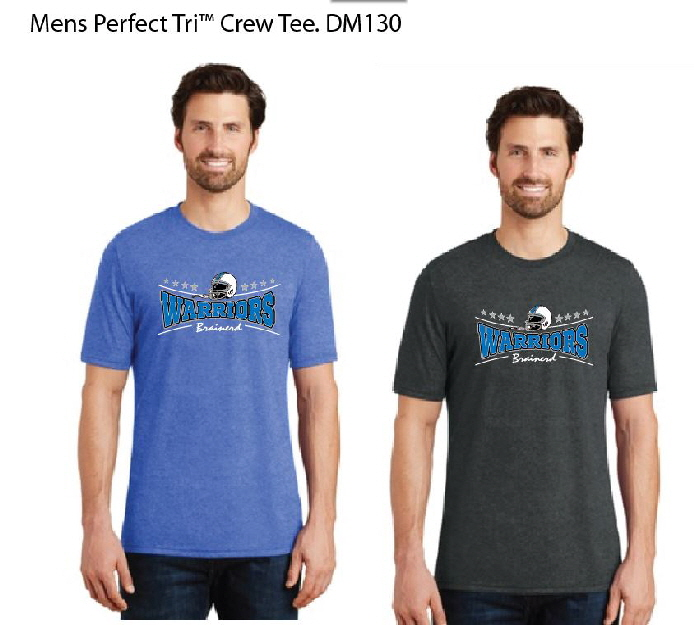 dm130 warrior football triblend t shirt Brainerd Warrior football clothing