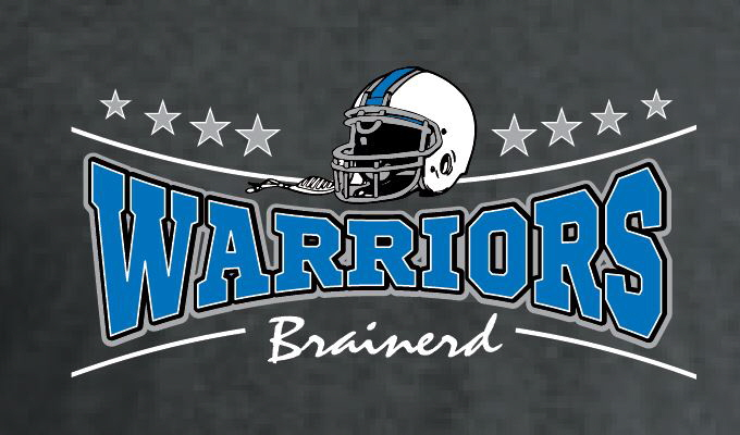 warrior football print brainerd warrior football t shirt