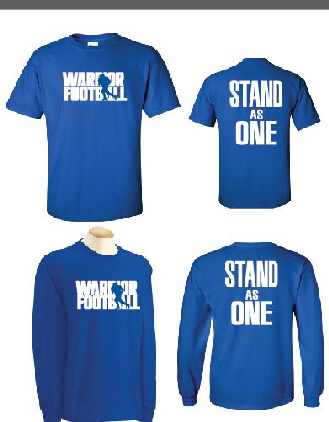 warrior spirit wear, brainerd warrior wear custom order screen printing for warrior fanwear, buy warriror screen printed group orders